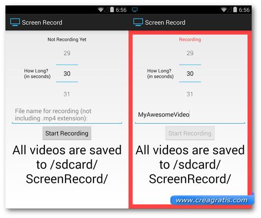 Schermate dell'applicazione Screen Record per Android