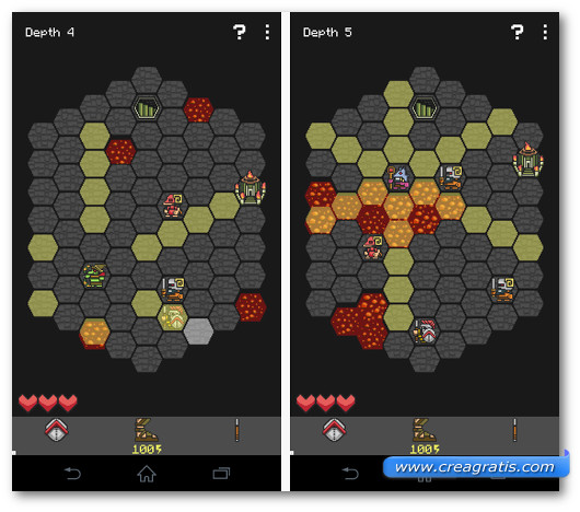 Immagine di due livelli del gioco Hoplite per Android