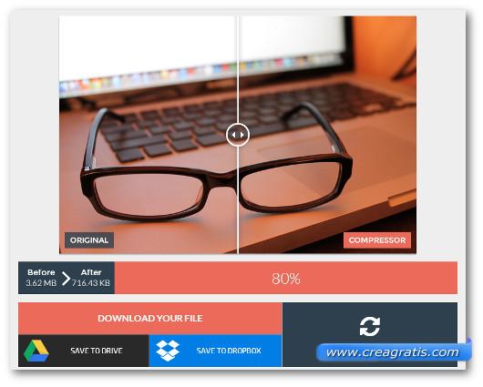 Confronto della qualità della foto prima e dopo la compressione