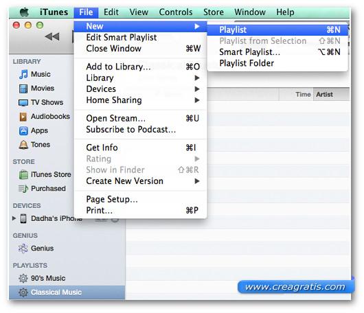 Primo passaggio per creare una nuova playlist su iTunes