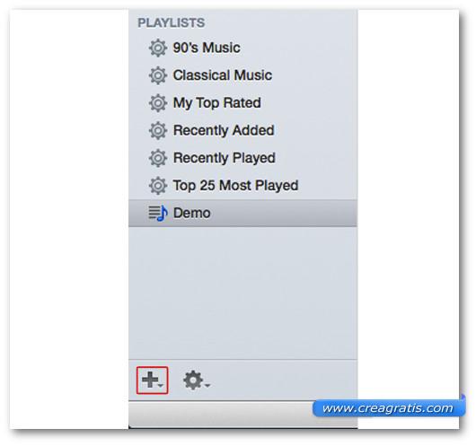 Lista delle playlist di iTunes