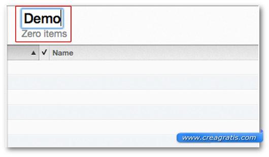 Campo per digitare il nome della nuova playlist di iTunes