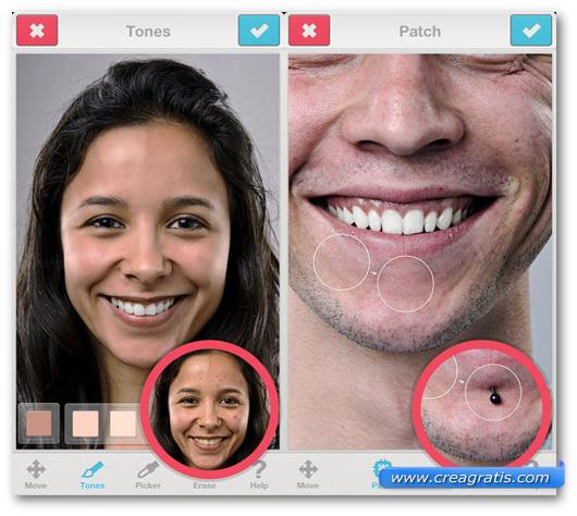 Schermate dell'applicazione Facetune per iPhone e iPad