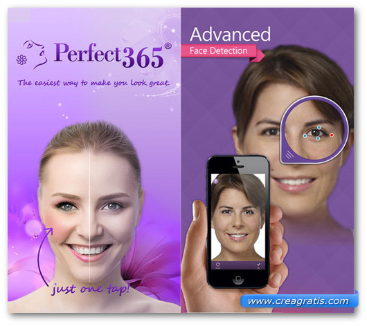 Schermate dell'applicazione Perfect365 per Android, iPhone e iPad