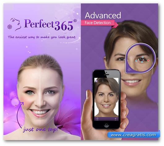 Schermate dell'applicazione Perfect365 per Android, iPhone e iPad