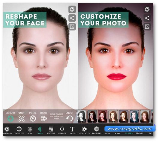Schermate dell'applicazione ModiFace Photo Editor per iPhone e iPad