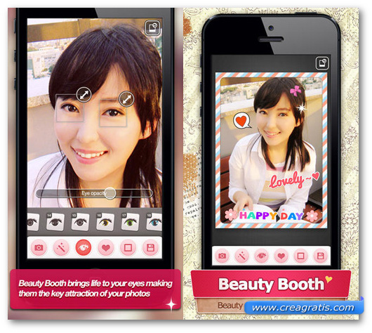 Schermate dell'applicazione Beauty Booth Pro per Android, iPhone e iPad