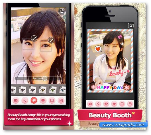 Schermate dell'applicazione Beauty Booth Pro per Android, iPhone e iPad