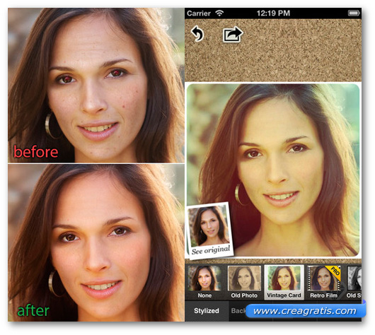 Schermate dell'applicazione Visage Lab per Android, iPhone e iPad