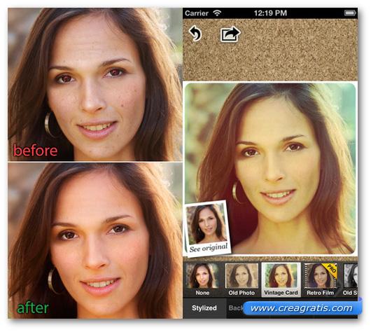 Schermate dell'applicazione Visage Lab per Android, iPhone e iPad