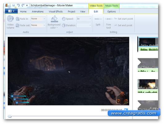 Interfaccia grafica del programma Windows Movie Maker per Windows