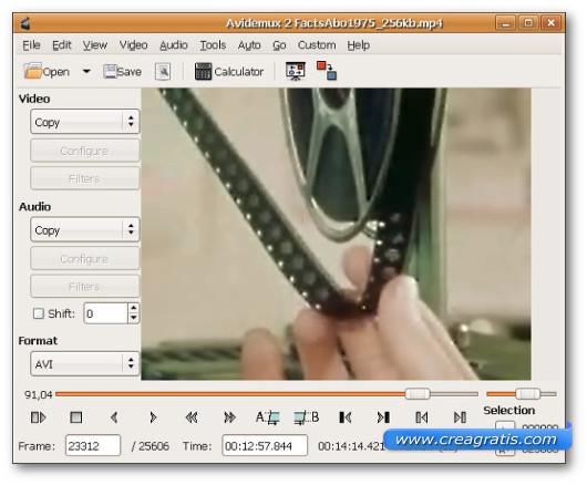 Interfaccia grafica del programma Avidemux per Windows