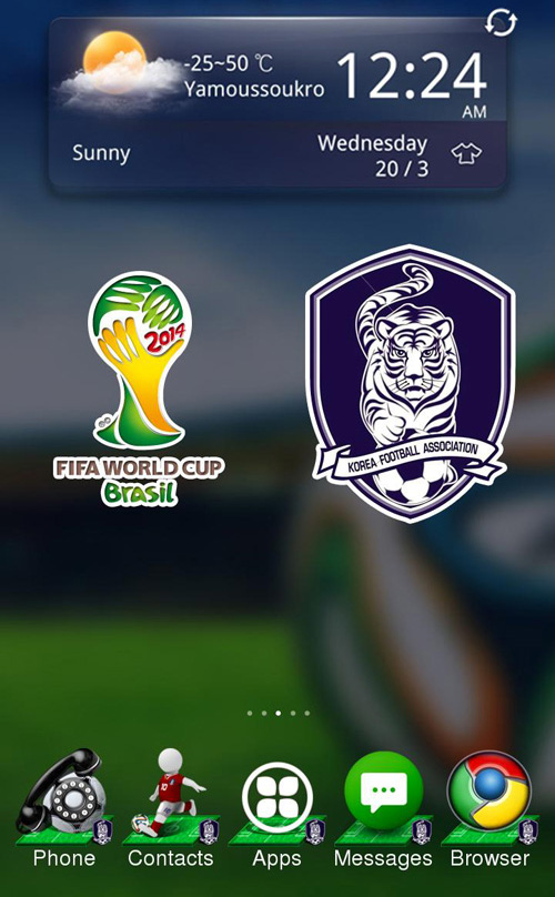 Schermata del tema Korea World Cup per Android