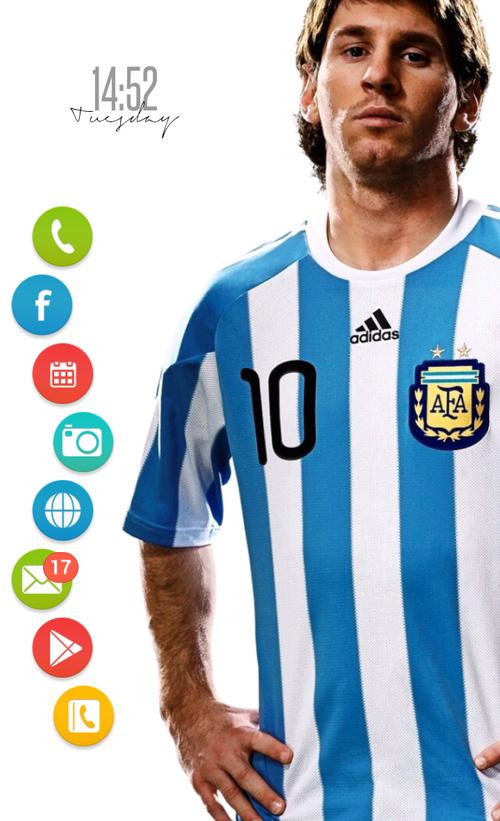 Schermata del tema Messi Homepack per Android