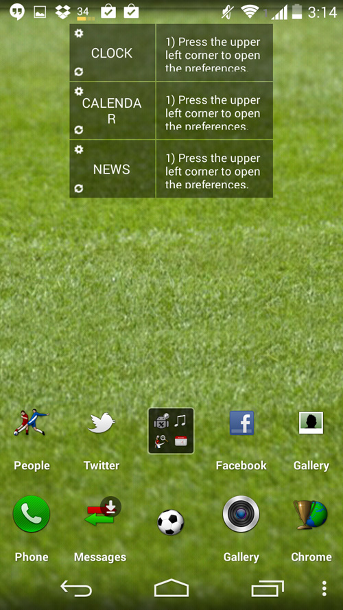 Schermata del tema Football Homepack per Android