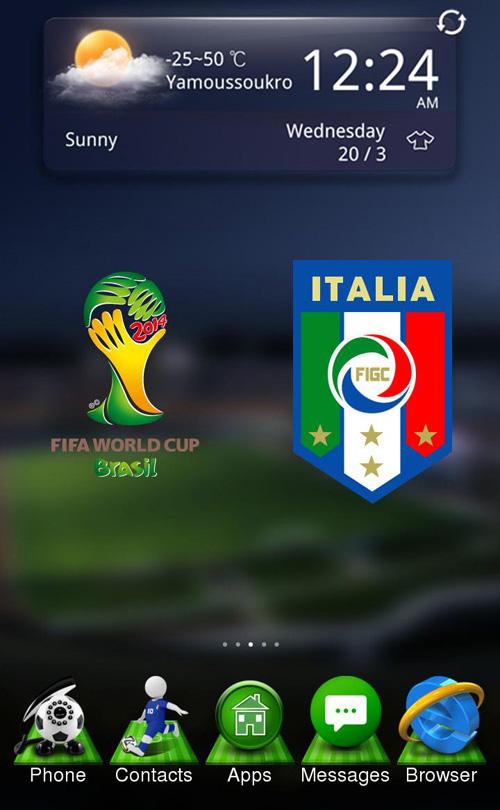 Schermata del tema Italy World Cup per Android