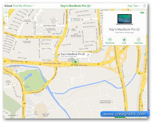 Schermata dell'applicazione Find My Mac