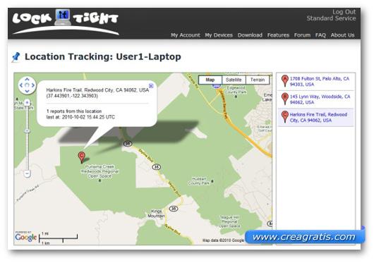 Schermata dell'applicazione LockItTight