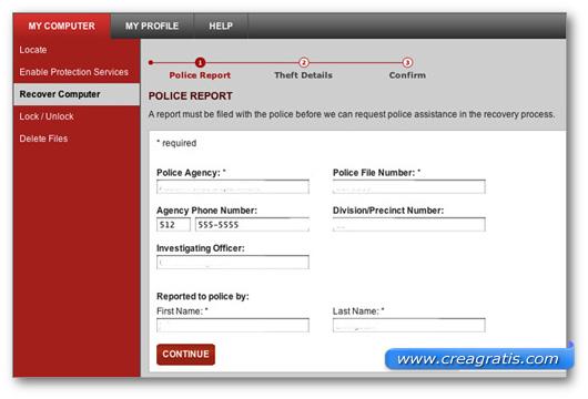 Schermata dell'applicazione Lojack For Laptop