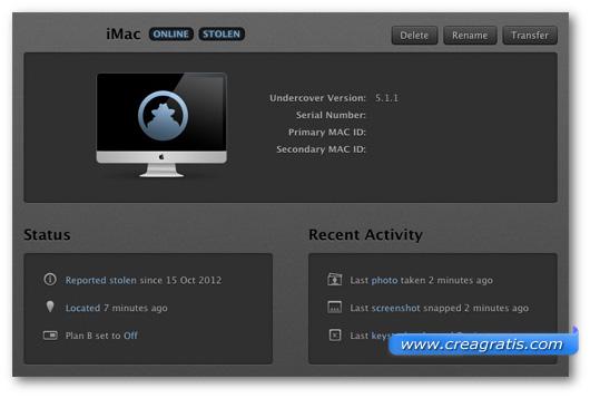 Schermata dell'applicazione Undercover
