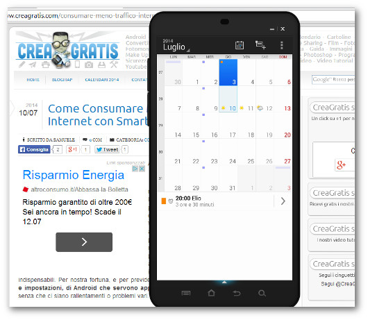 Schermata dell'app Calendario DigiCal per Android