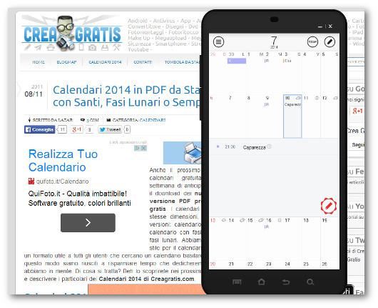 Schermata dell'app SolCalendar per Android