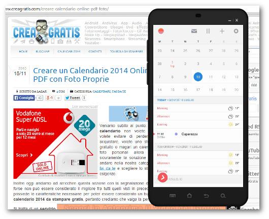 Schermata dell'app Sunrise Calendar per Android