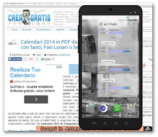 Schermata dell'app UpNext per Android