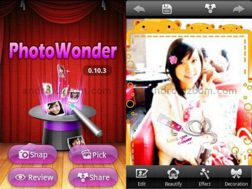 Schermate dell'app PhotoWonder per Android