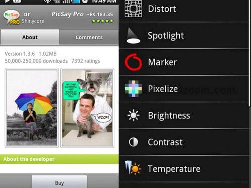 Schermate dell'app PicSay per Android