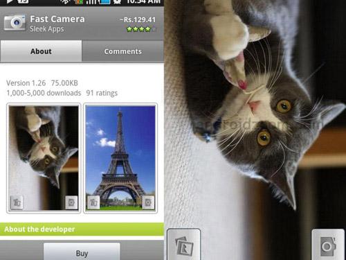 Schermate dell'app Fast Camera per Android