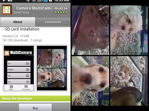 Schermate dell'app Multi Camera per Android