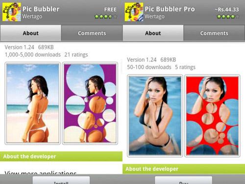 Schermate dell'app Pic Bubbler per Android