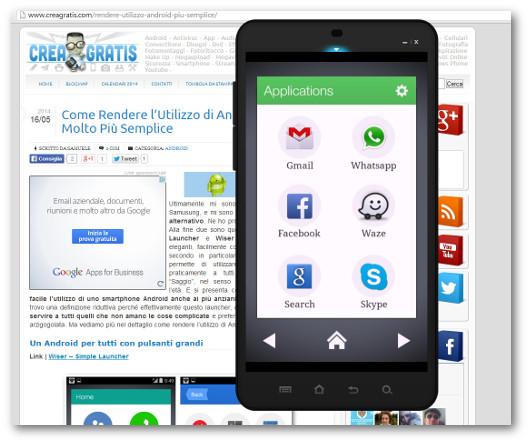 Schermata del launcher Wiser per Android