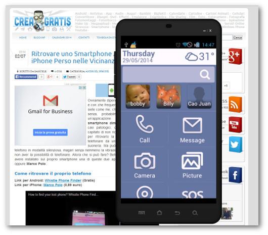 Schermata del launcher Necta per Android