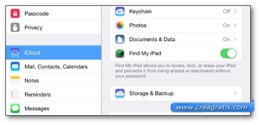 Schermata di attivazione dell'applicazione Find My iPad