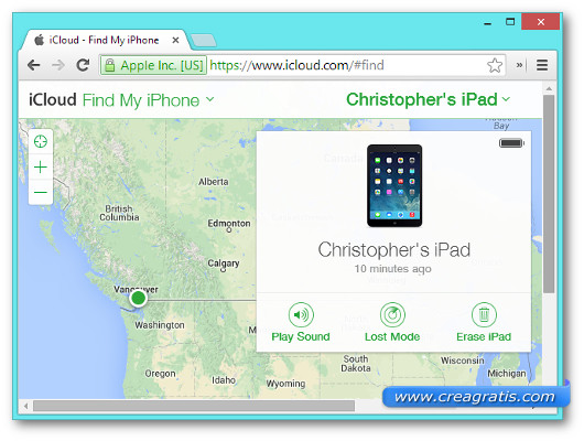 Schermata della funzionalità Find My iPhone su iCloud