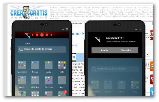 Utilizzo della barra delle notifiche per disinstallare app