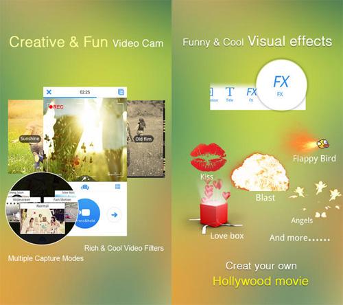 Schermate dell'applicazione VivaVideo per Android e iOS