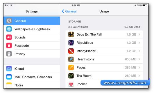Lista delle applicazioni installate su un iPhone o un iPad