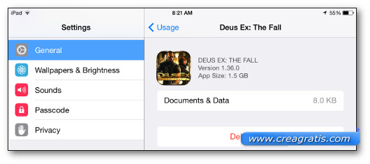Pulsante per eliminare un'applicazione su iPhone o iPad