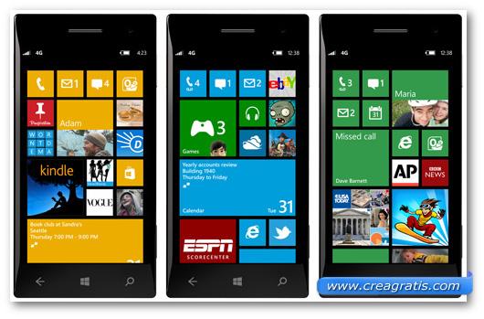 Schermate di alcune applicazioni Windows Phone