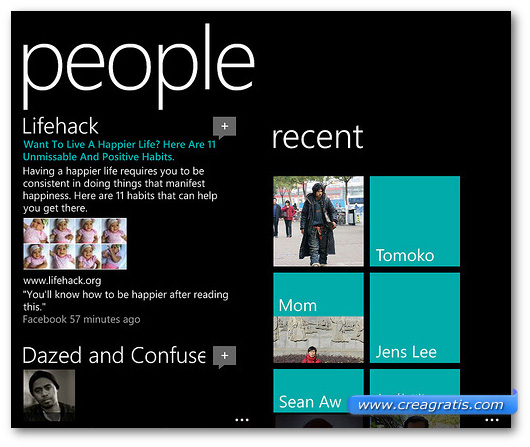 Schermata di esempio sull'integrazione delle applicazioni Windows Phone