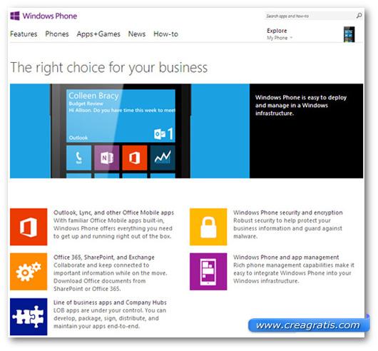 Schermata sulla compatibilità di Windows Phone con il mondo Microsoft