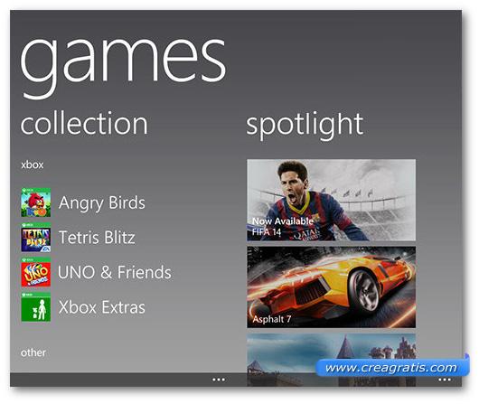 Schermata dei giochi su Windows Phone
