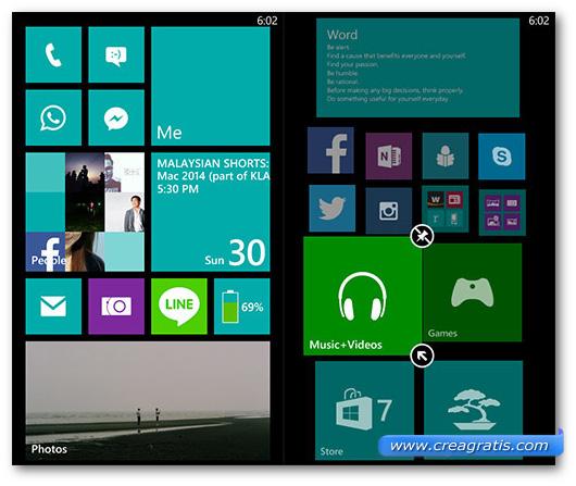 Schermate sulle piastrelle di Windows Phone