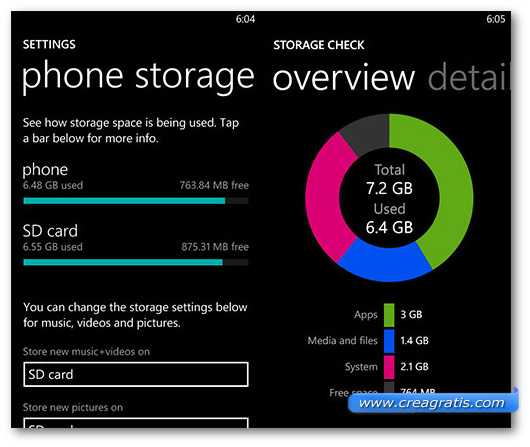 Schermata della memoria di Windows Phone