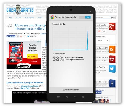 Schermata dell'applicazione Chrome