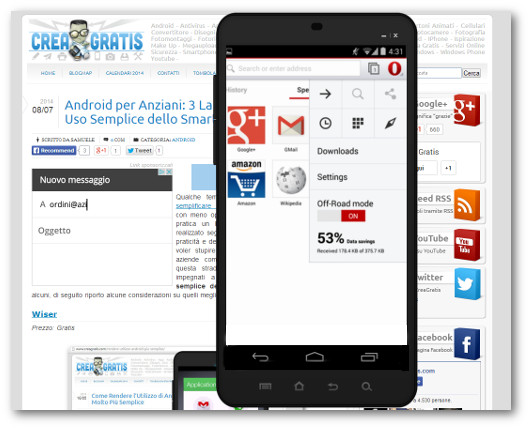 Schermata dell'applicazione Opera Mini