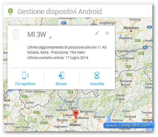 Schermata di tracciamento degli smartphone e tablet Android